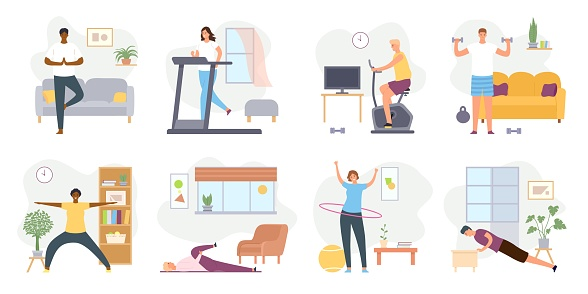 Home exercises. People meditate, do yoga, sport and fitness indoor. Active men and women workout on exercise bike and treadmill vector set