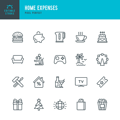 Home Expenses - thin line vector icon set. Pixel perfect. The set contains icons: Home Finances, Mortgage, Piggy Bank, Repairing, Shopping Bag, Amusement Park, Birthday Cake, Furniture, Vacations.