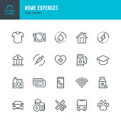 Home Expenses - thin line vector icon set. 20 linear icon. Pixel perfect. Editable outline stroke. The set contains icons: Home Finances, Budget, Credit Card, Expense, Medicine, Pill, Electricity, Clothing, Hairdresser, Internet.