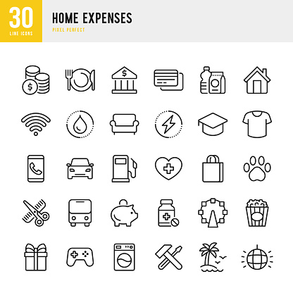 Home Expenses - thin line vector icon set. Pixel perfect. The set contains icons: Home Finances, Budget, Credit Card, Medicine, Electricity, Clothing, Hairdresser, Internet.
