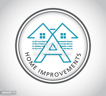 istock Home exterior improvements icon with sample text 665695774