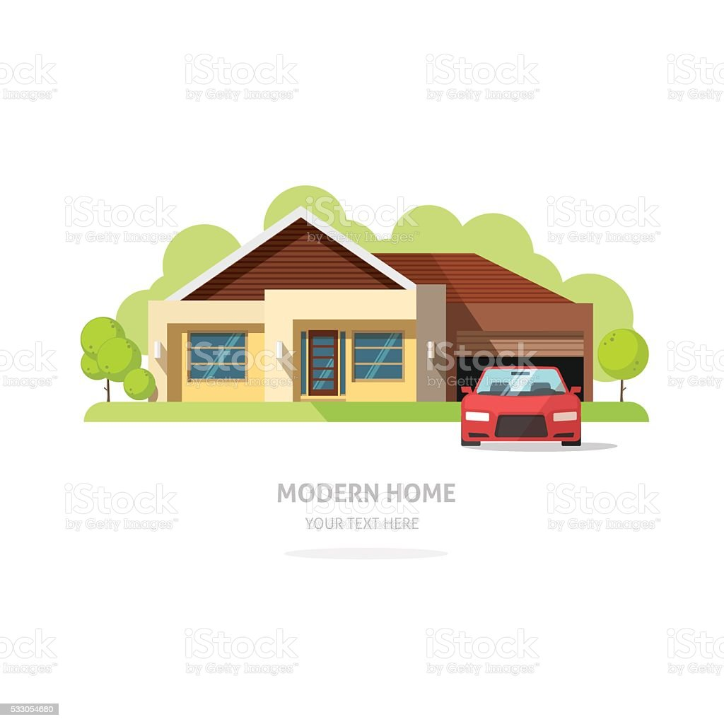 Home facade contemporary modern. American house traditional cottage vector