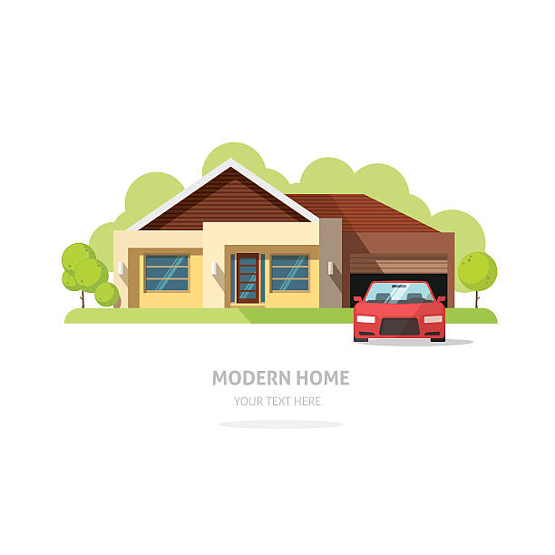 ilustrações de stock, clip art, desenhos animados e ícones de fachada moderna em casa contemporânea. americana casa tradicional casa de campo vectorial - house garage