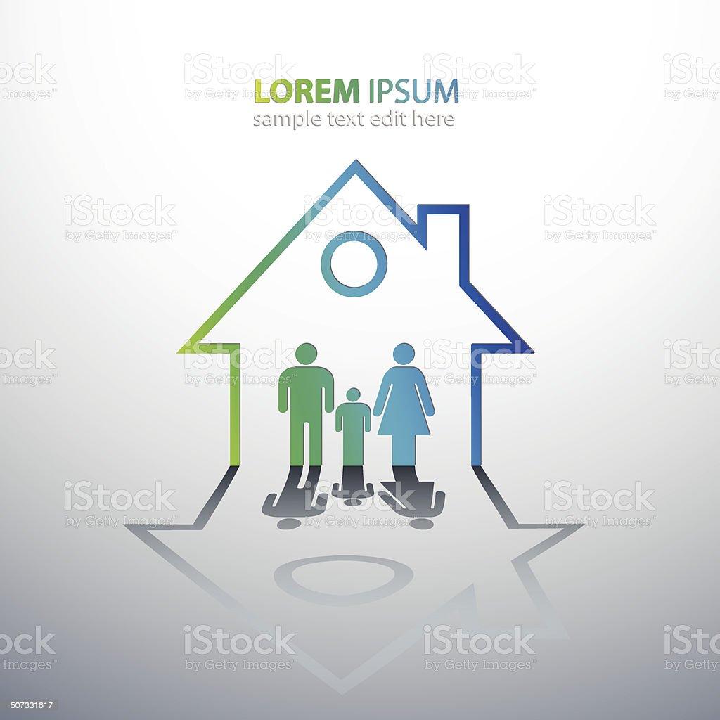 home family vector art illustration