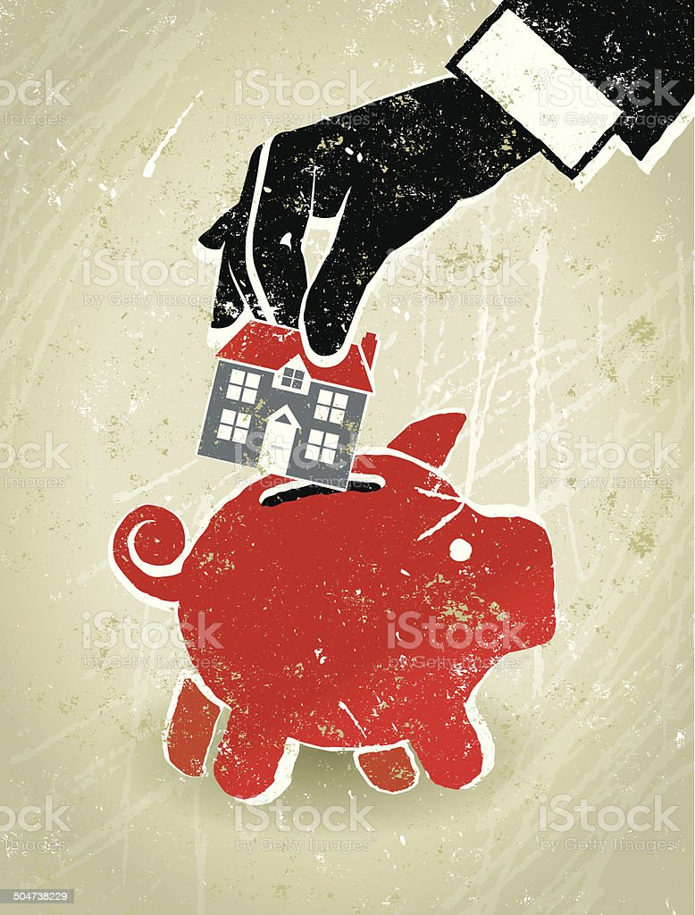 Home Finance, Businessman's Hand, House and Piggy Bank vector art illustration