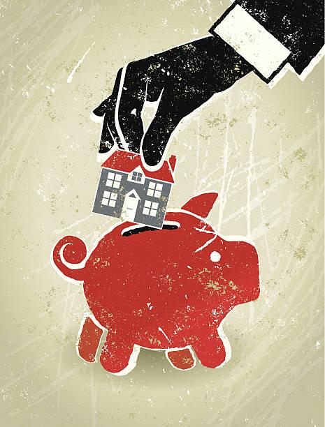 home finance geschäftsmann hand, haus und sparschwein - hauswirtschaft stock-grafiken, -clipart, -cartoons und -symbole