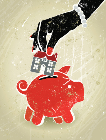 Home Finance, Businesswoman's Hand, House and Piggy Bank