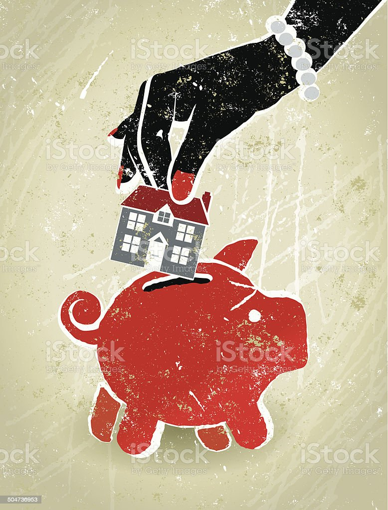 Home Finance, Businesswoman's Hand, House and Piggy Bank vector art illustration