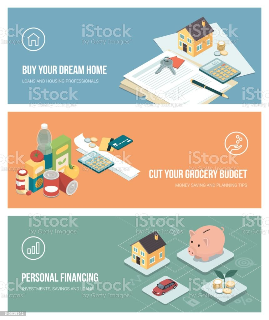 Home finance, investments and budgeting vector art illustration