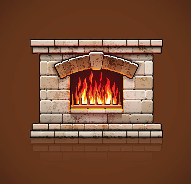 Best Stone Fireplace Illustrations Royalty Free Vector