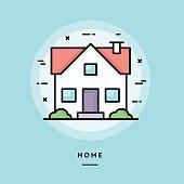Home, flat design thin line banner