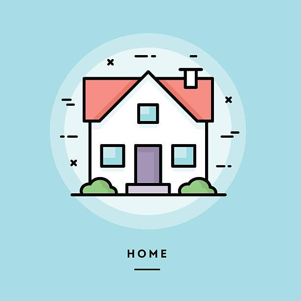 ilustraciones, imágenes clip art, dibujos animados e iconos de stock de hogar, diseño plano delgado línea bandera - hipotecas y préstamos