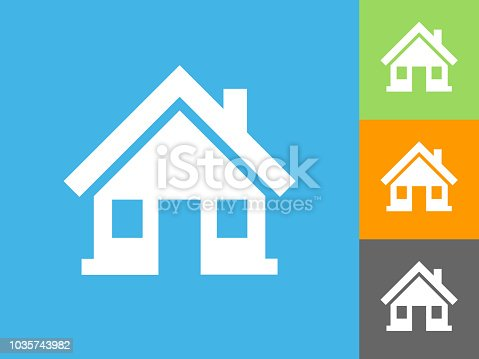 Home  Flat Icon on Blue Background. The icon is depicted on Blue Background. There are three more background color variations included in this file. The icon is rendered in white color and the background is blue.