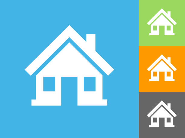 home  flat icon on blue background - house stock illustrations