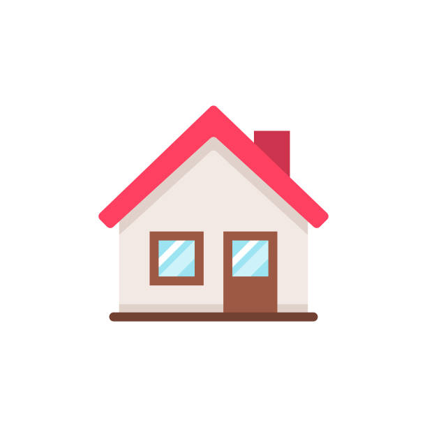 ilustrações de stock, clip art, desenhos animados e ícones de home flat icon. pixel perfect. for mobile and web. - house