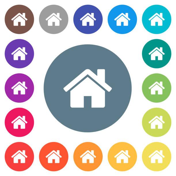 home flache weiße symbole auf runde farbe hintergründe - hausfarbpaletten stock-grafiken, -clipart, -cartoons und -symbole