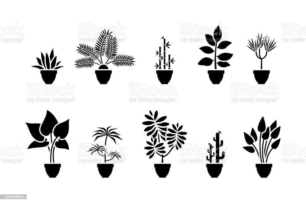 accueil fleurs jeu dic u00f4nes pictogramme noir de plante en pot vecteurs libres de droits et plus d