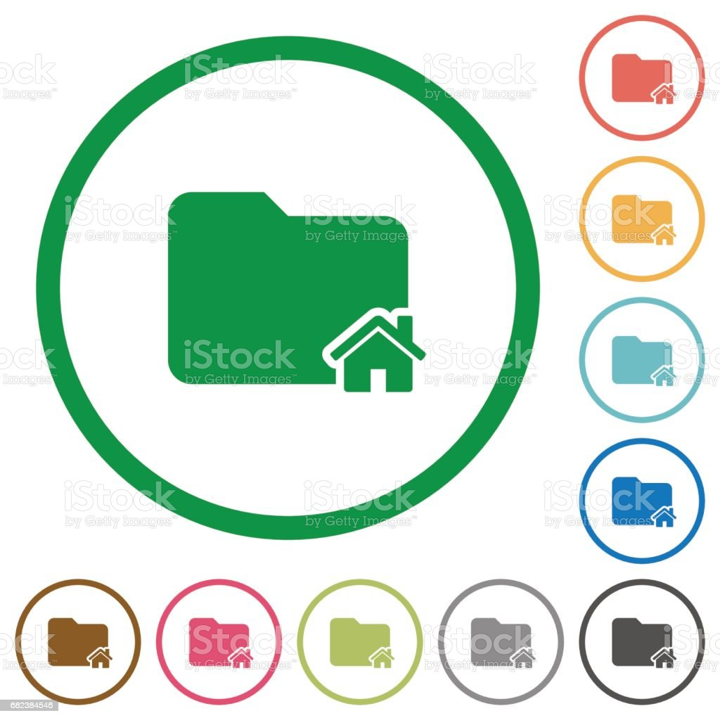 Home folder flat icons with outlines home folder flat icons with outlines – cliparts vectoriels et plus d'images de appliquer libre de droits