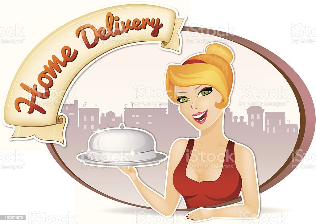 Home Food Delivery Girl vector art illustration