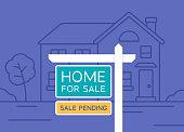 Home for sale real estate house sales illustration sign.