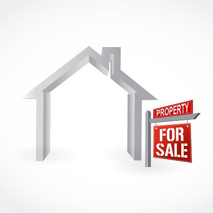 Home for Sale sign. Vector Illustration.
