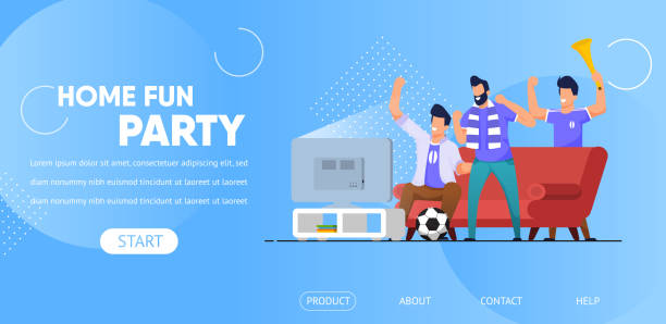 home fun party horizontal banner, friends company - fussball fan stock-grafiken, -clipart, -cartoons und -symbole