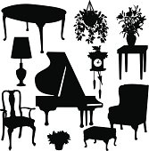 Vector illustrations of home furnishings.