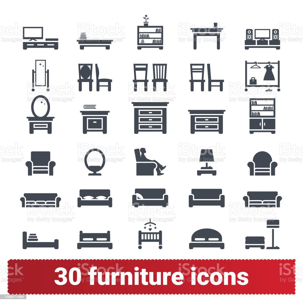 Home Furniture And Accessories Icons Collection Stock Illustration Download Image Now Istock