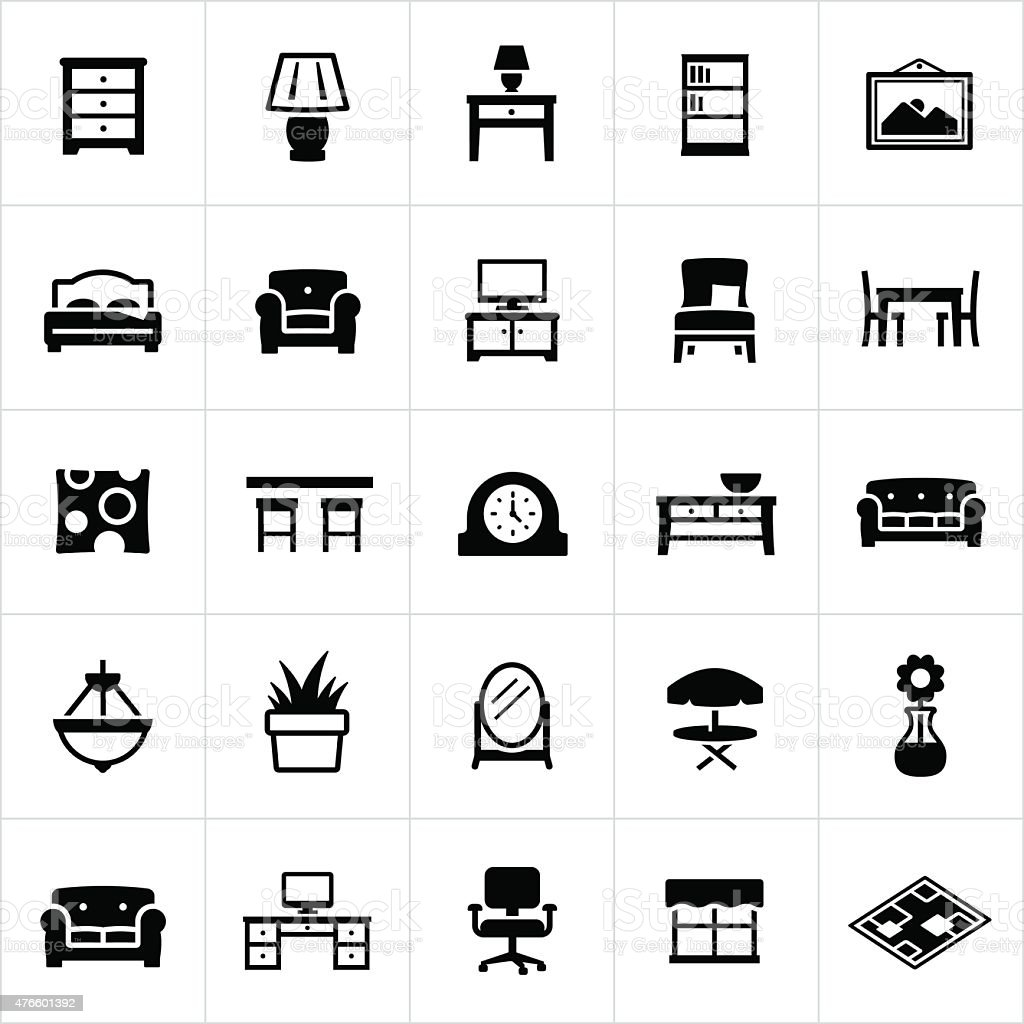Home furniture and decor icons stock vector art more for Home furnishing sites