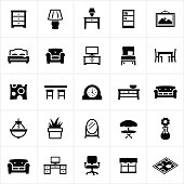 Furniture and decor associated with the home. The icons include several common furniture items and decor. A couch, chair, table, rug, love seat, art, and window coverings are just a few of the icons represented.