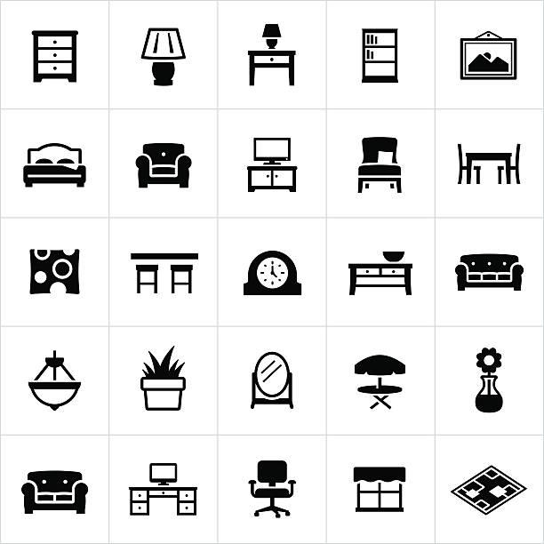 ilustrações de stock, clip art, desenhos animados e ícones de ícones em casa de móveis e decoração - coffee table