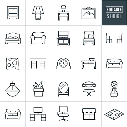 Home Furniture and Decor Thin Line Icons - Editable Stroke