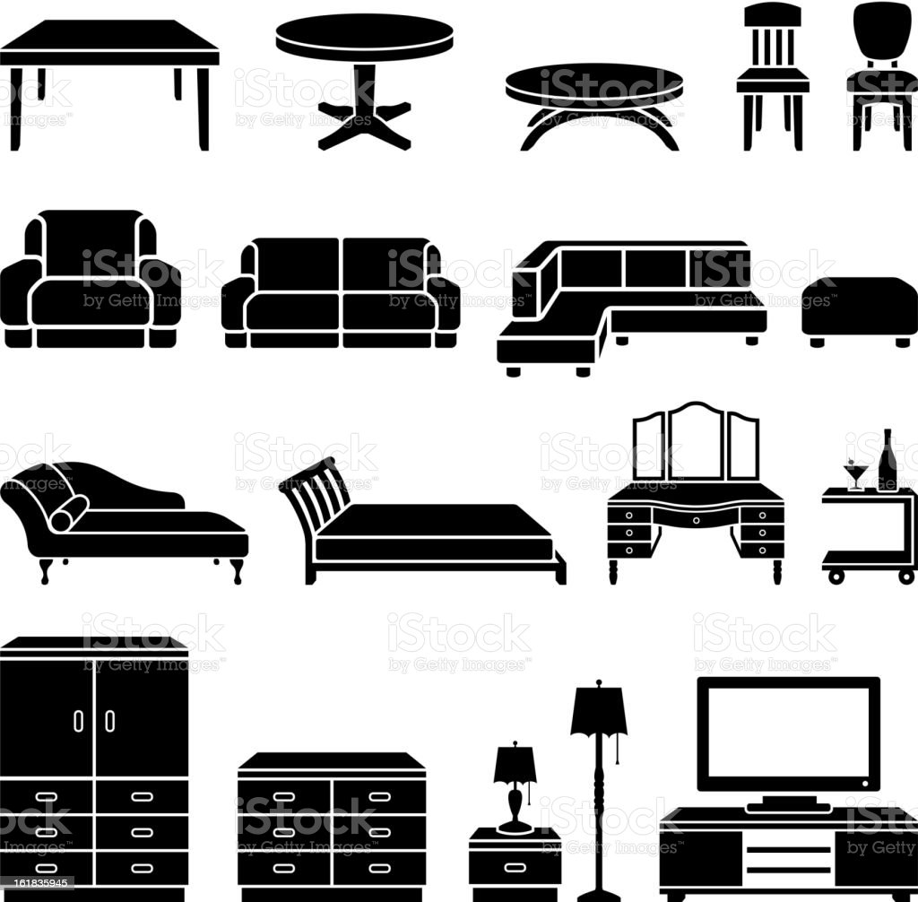 Home Furniture black and white royalty free vector art vector art illustration