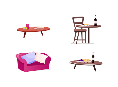 Home furniture flat color vector objects set