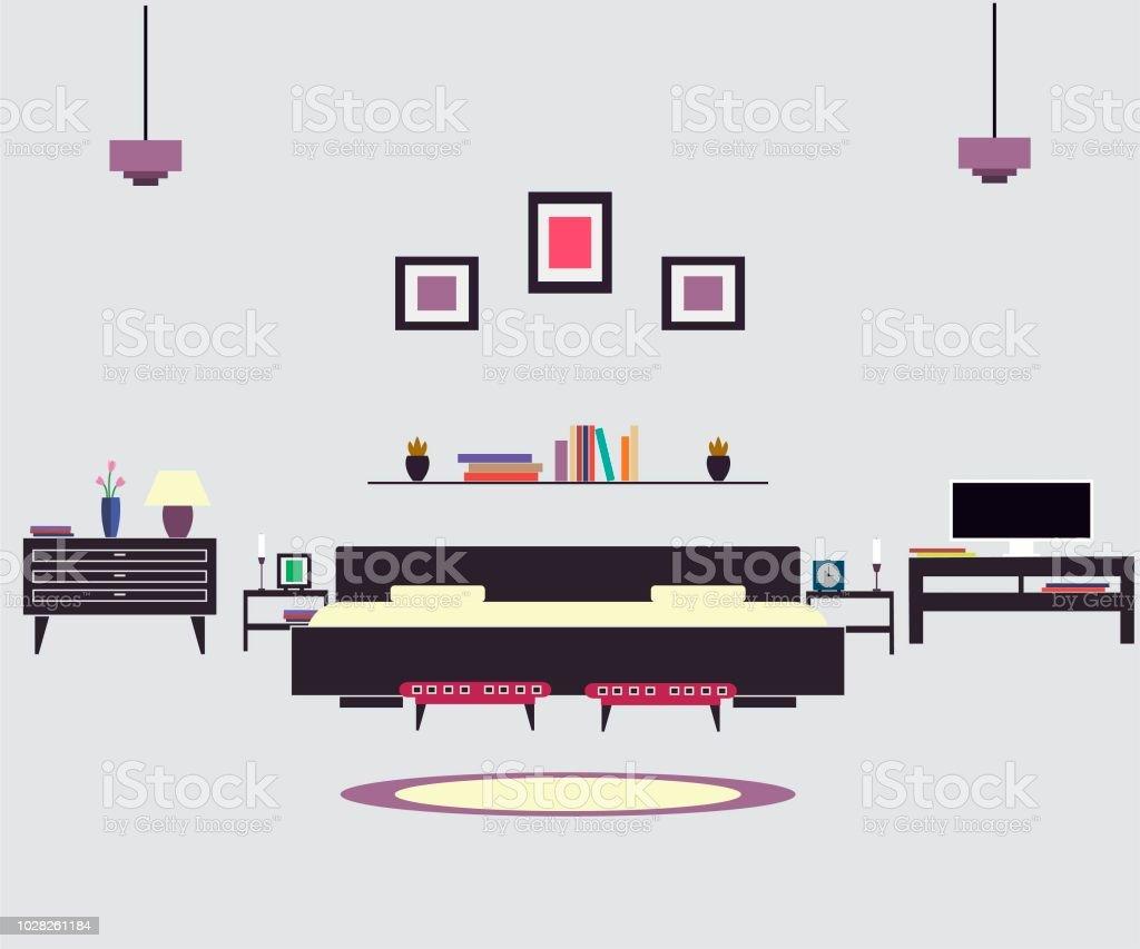 Home Möbel Interior Design Schlafzimmer Stock Vektor Art Und Mehr