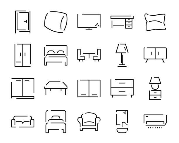 home möbel interieur linie icons set - leinensofa stock-grafiken, -clipart, -cartoons und -symbole