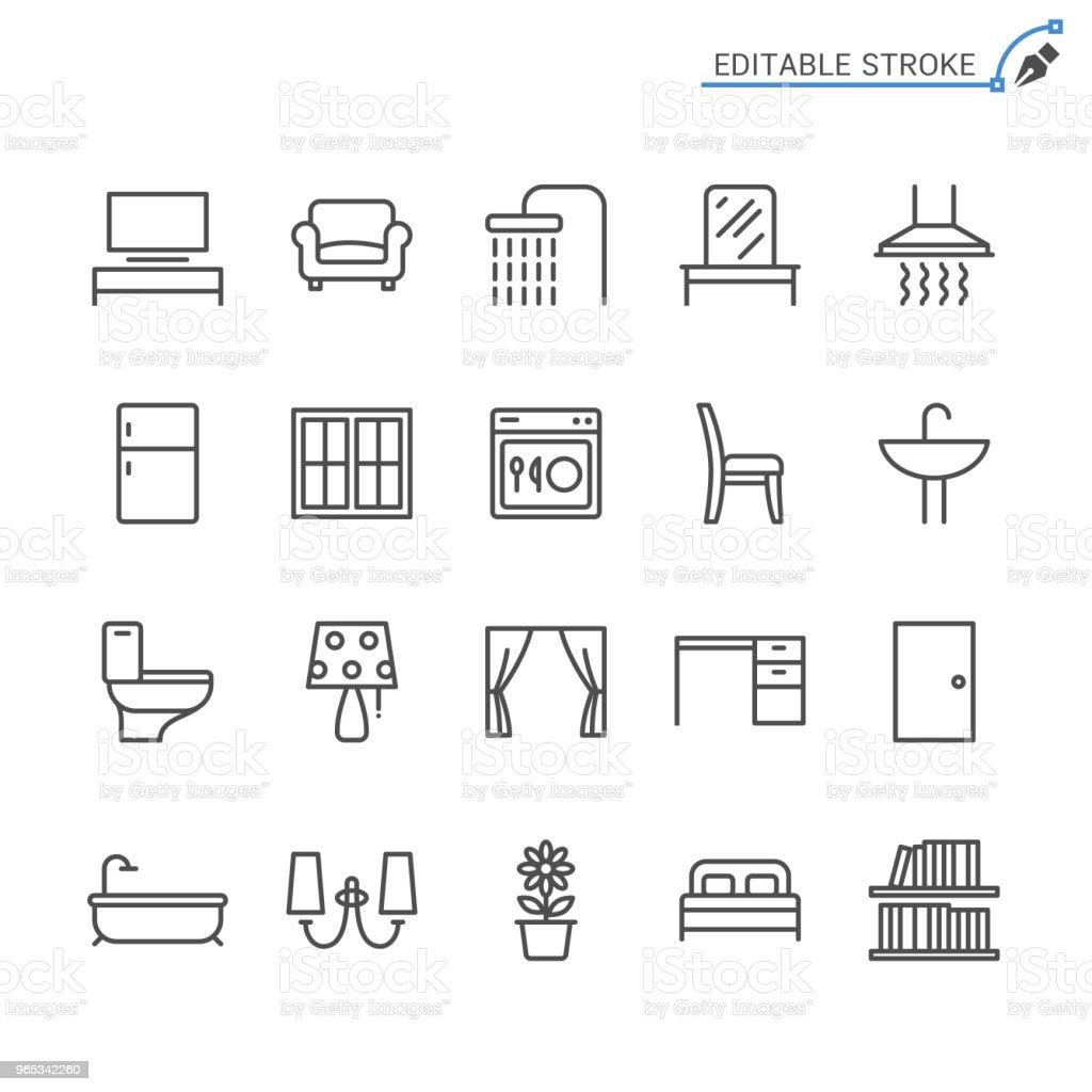 Icônes de meubles à la maison de ligne. Modifiables en course. Pixel perfect. - clipart vectoriel de Ameublement libre de droits