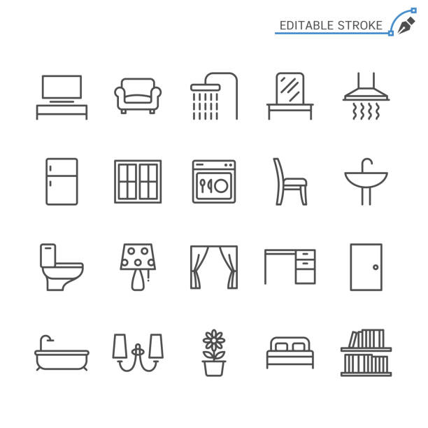 Home furniture line icons. Editable stroke. Pixel perfect. vector art illustration