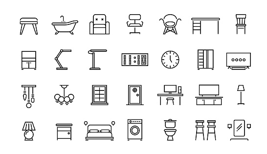 Home furniture line icons. Office interior and home room chair lamp table symbols, bedroom kitchen an living room vector set