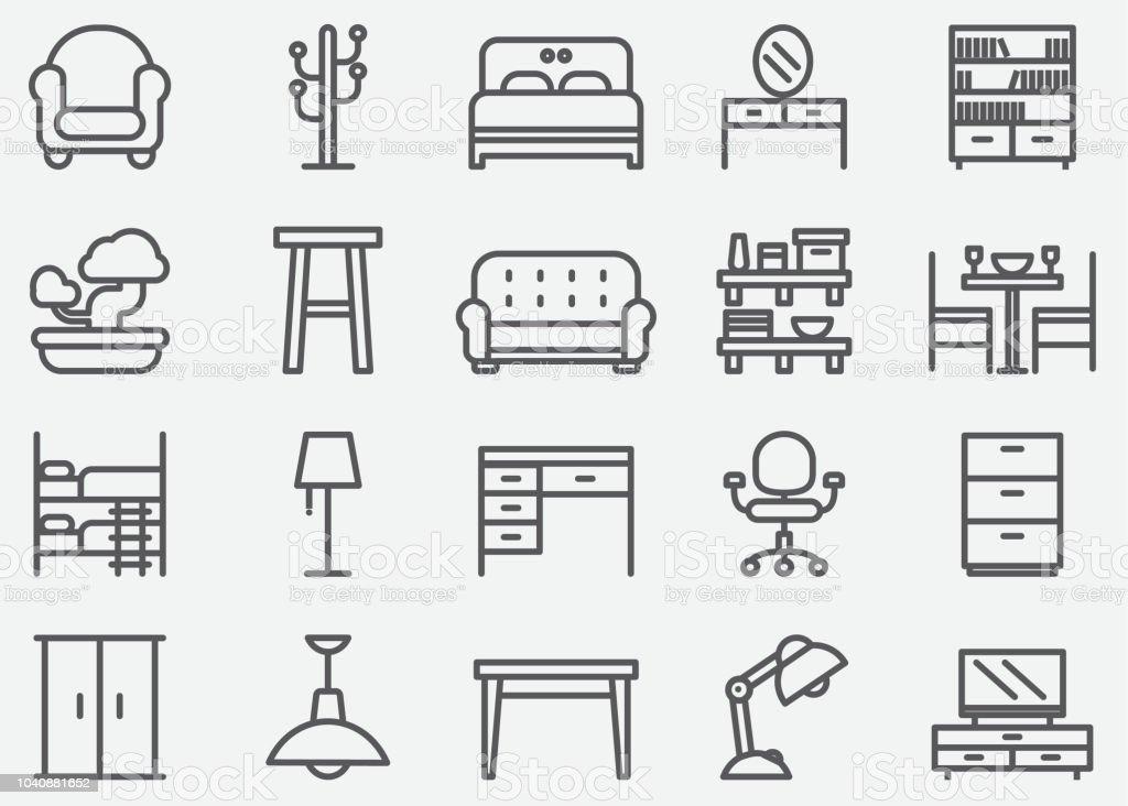 Home meubelen lijn pictogrammen - Royalty-free Appartement vectorkunst