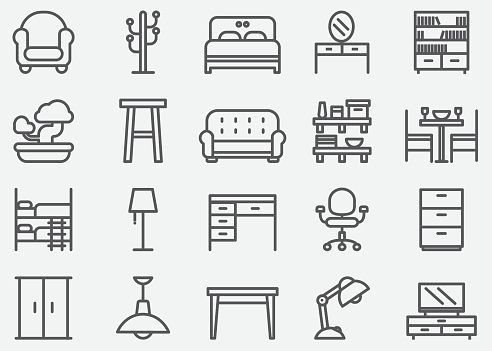Home Furniture Line Icons