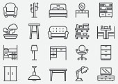 istock Home Furniture Line Icons 1040881652