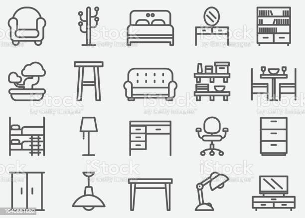 Home Meubelen Lijn Pictogrammen Stockvectorkunst en meer beelden van Appartement