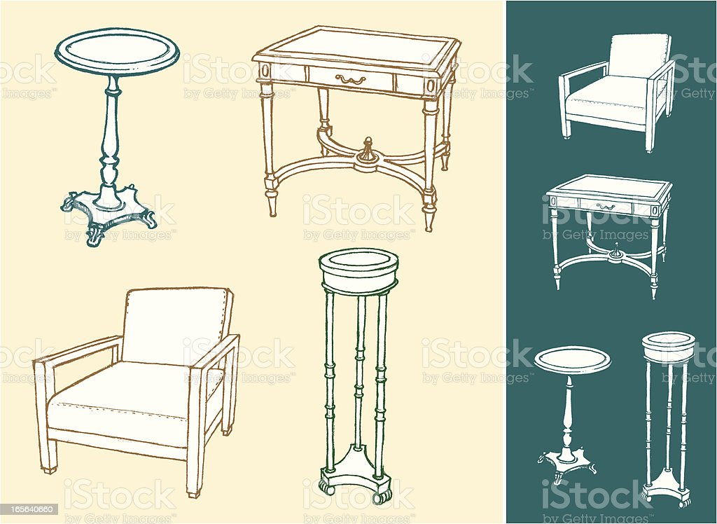 Home Furniture Sketch Set royalty-free stock vector art