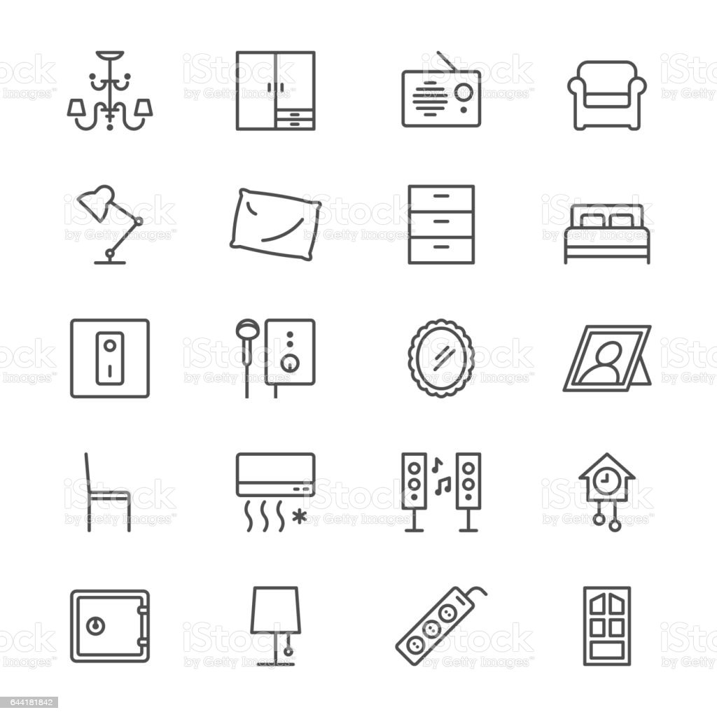 Home furniture thin icons vector art illustration