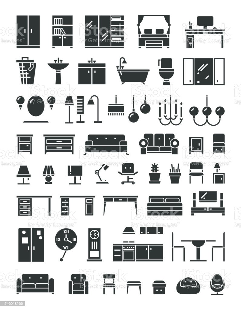 Home furniture vector icons vector art illustration