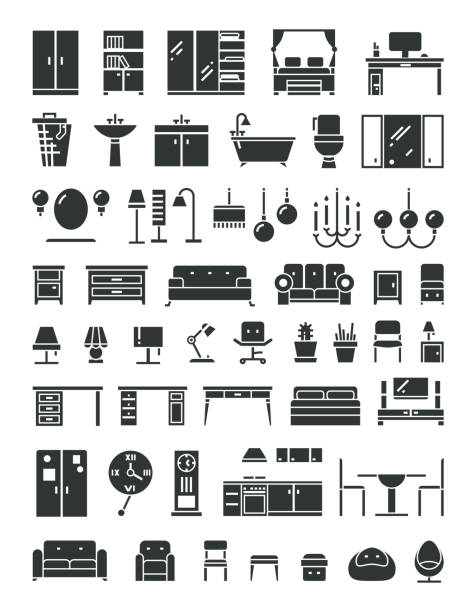 Home furniture vector icons Home furniture vector icons. Set of furniture for home and office, illustration furrniture table bed and armchair for room bathroom borders stock illustrations