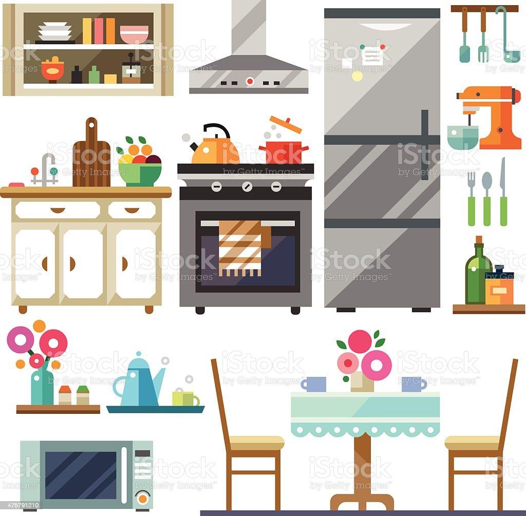 Home furniture vector art illustration