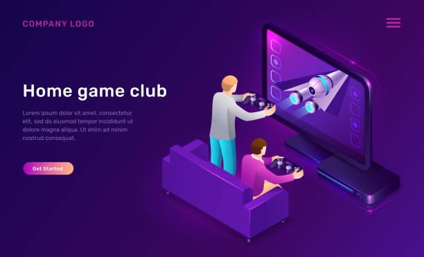 ilustrações de stock, clip art, desenhos animados e ícones de home game club isometric concept - tv e familia e ecrã