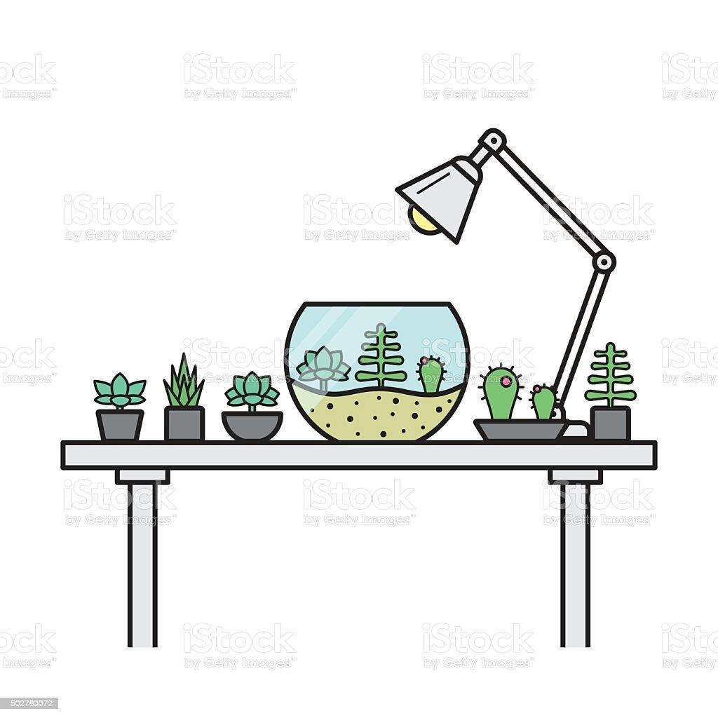 Home Garden On A Table With Glass Terrarium Stock Vector Art More